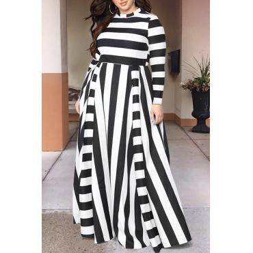 Lovely Casual Striped Black Floor Length Dress