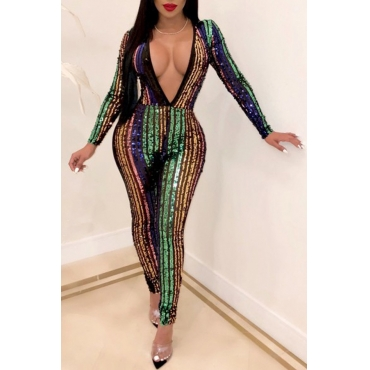 Lovely Trendy Patchwork Sequined Multicolor One-piece Jumpsuit