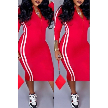 Lovely Casual Striped Red Mid Calf Dress
