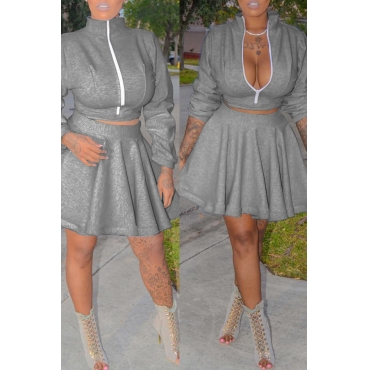 Lovely Trendy Ruffle Design Grey Two-piece Skirt Set