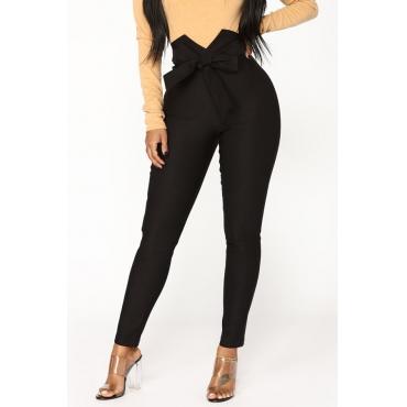 Lovely Trendy Bow-Tie Skinny Black Cotton Pants
