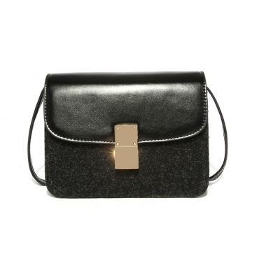 Lovely Chic Black PU Crossbody Bag