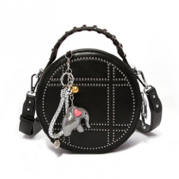 Lovely Chic Round Black PU Crossbody Bag