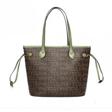 Lovely Trendy Letter Printed Green Shoulder Bags
