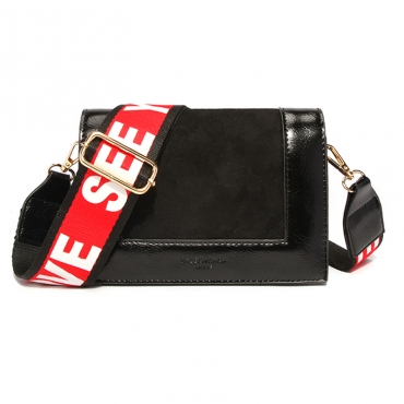 Lovely Casual Patchwork Black Crossbody Bag
