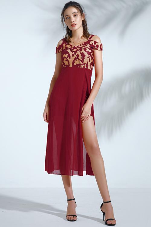 Lovely Trendy Dew Shoulder Wine Red Chiffon Mid Calf Dress