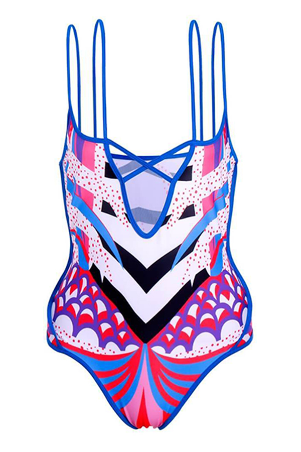 Lovely Sexy Hollow-out Multicolor One-piece Swimsuit (With Cover-up)