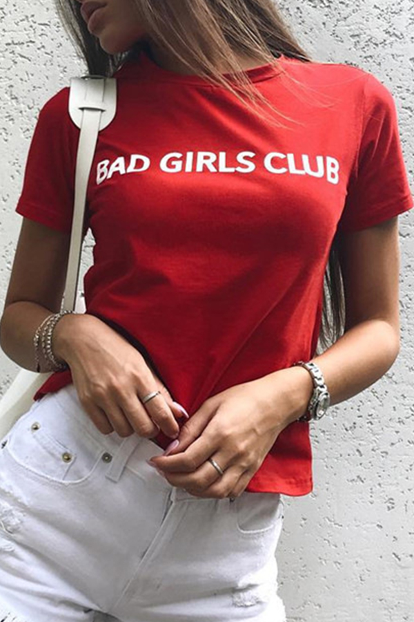 Lovely Casual Letters Printed Red Cotton T-shirt