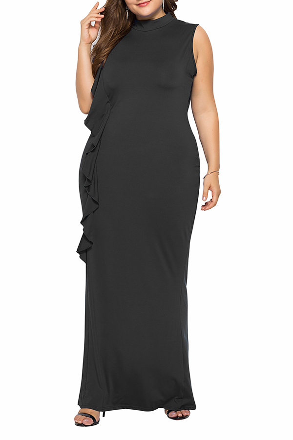 Lovely Casual Patchwork Black Floor Length Dress