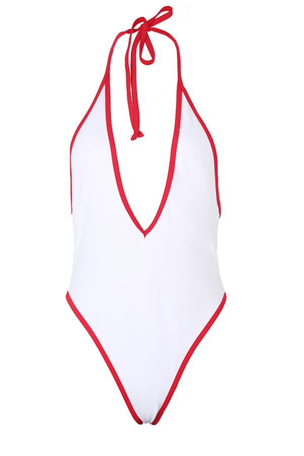 Lovely Casual Patchwork White One-piece Swimwears