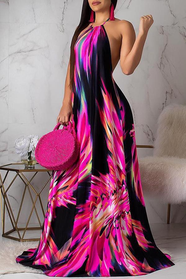 Lovely Sweet Backless Red Floor Length Dress