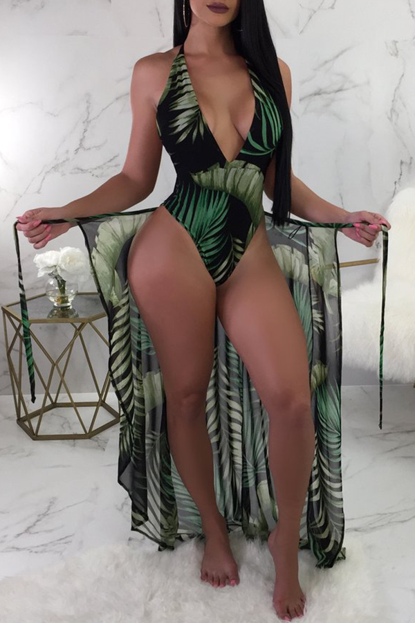 Lovely Sexy Printed Blackish Green One-piece Swimwear (With Cover-up)