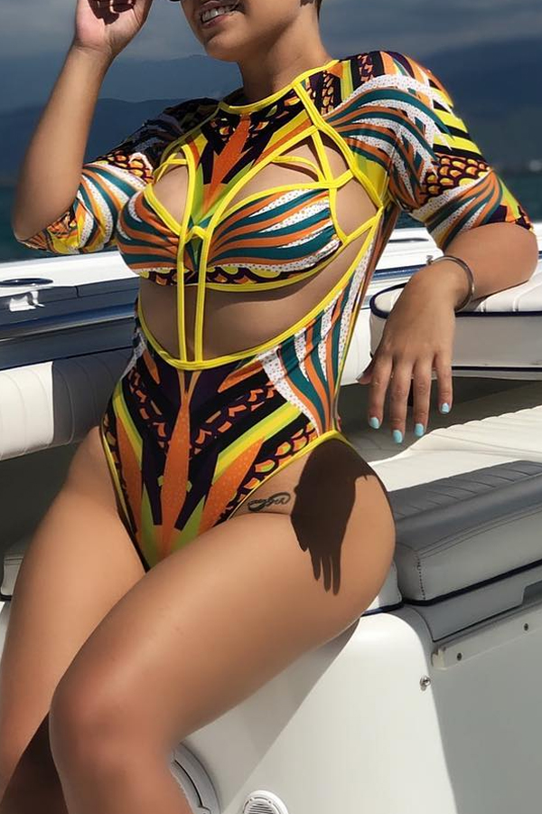 Lovely Sexy Hollowed-out Multicolor One-piece Swimwears