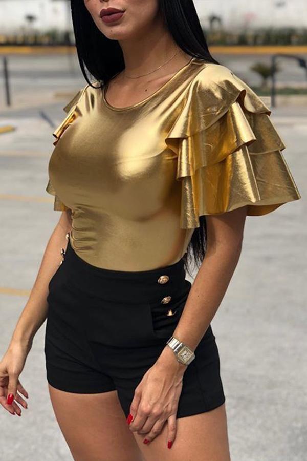 Lovely Chic Ruffle Design Gold T-shirt