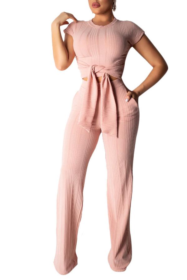 Lovely Trendy Knot Design Apricot Two-piece Pants Set
