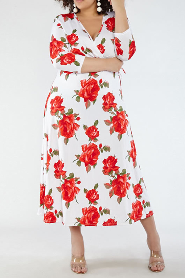 Lovely Casual Floral White Ankle Length Dress