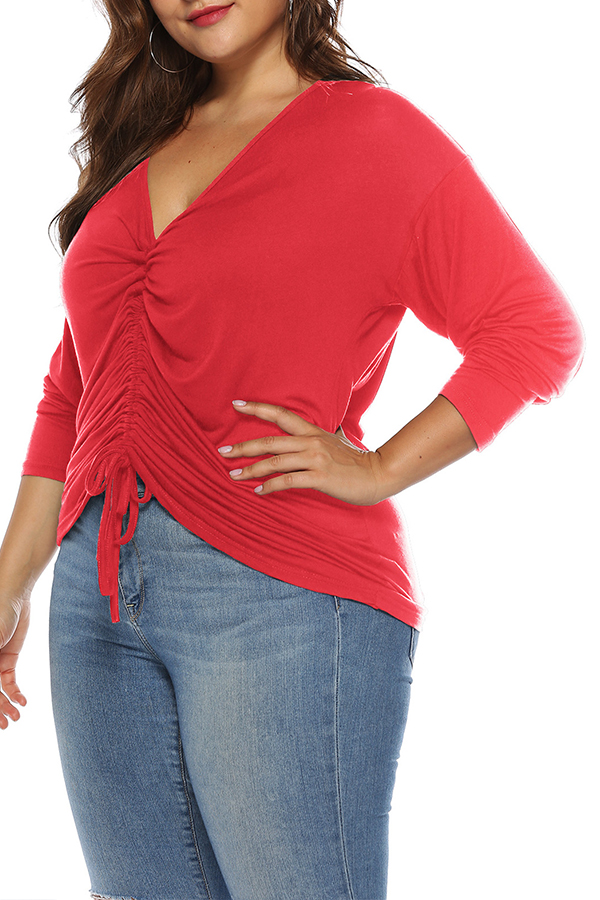 Lovely Casual Ruffle Design Red T-shirt