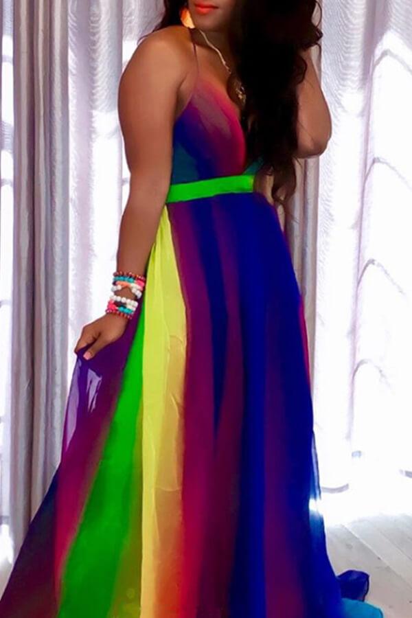 Lovely Sweet Striped Green Chiffon Floor Length  Dress