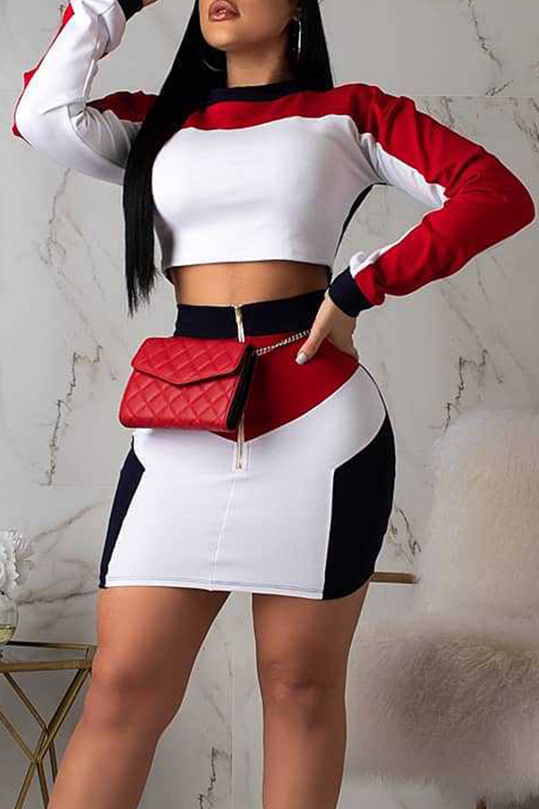 Lovely Casual Patchwork Red Two-piece Skirt Set