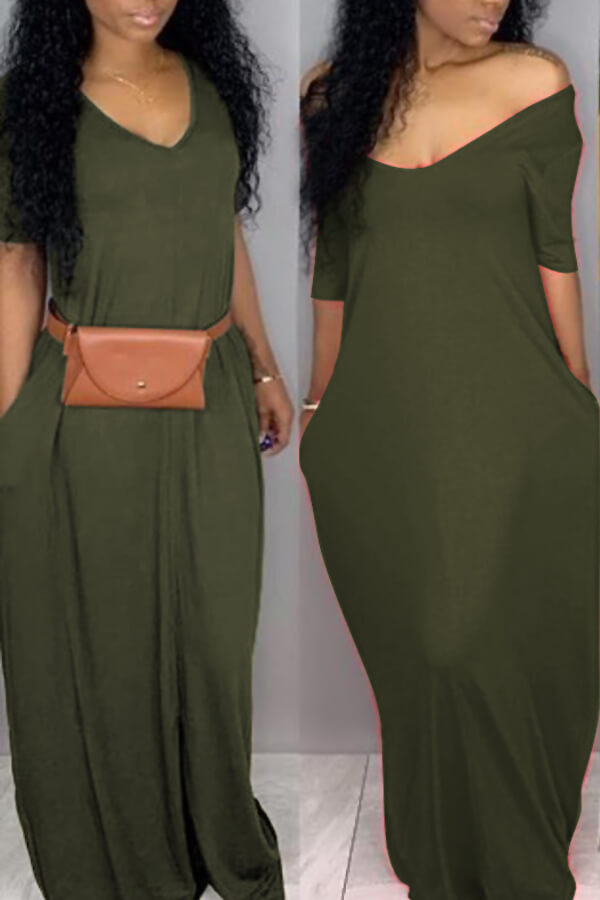 Lovely Casual Pockets Design Green Blending Floor Length Dress