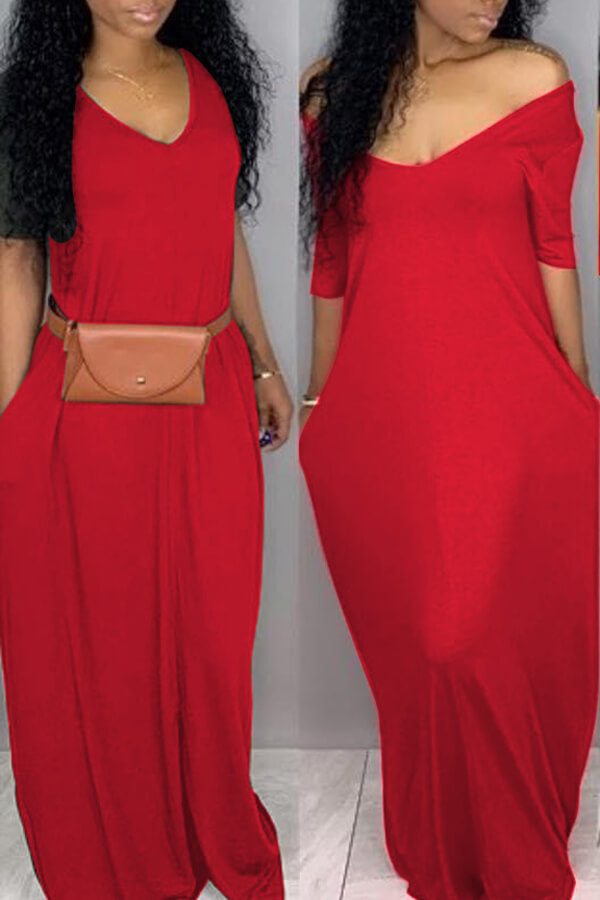 Lovely Casual Pockets Design Bright Red Blending F