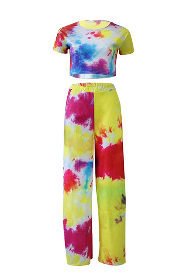 Lovely Casual Color Block Printed Rose Red Two-piece Pants Set