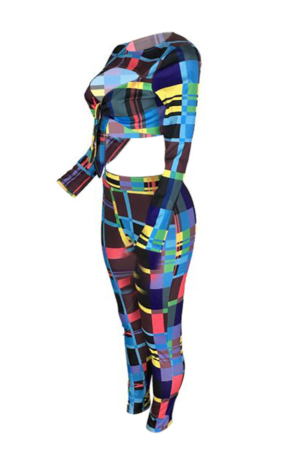 Lovely Sexy Striped Multicolor Twilled Satin Two-piece Pants Set