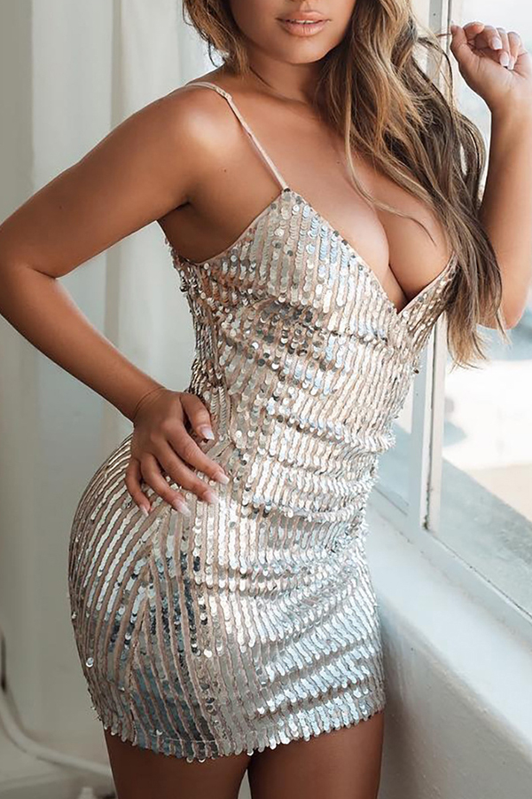 Lovely Sexy Sequined Silver Mini Dress