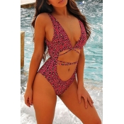 Lovely Sexy Hollowed-out Red One-piece Swimwears