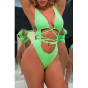 Lovely Sexy Hollowed-out Lace-up Green One-piece Swimwears