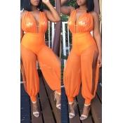 Lovely Sexy Patchwork Orange Gauze One-piece Jumps