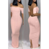 Lovely Trendy Backless  Pink Ankle Length Dress