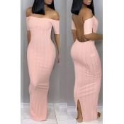 Lovely Trendy Backless Pink Ankle Length Dress