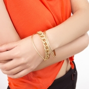 Lovely Chic Chain And Round Gold Metal Bracelet