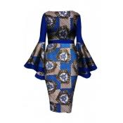 Lovely Trendy Trumpet Sleeves Blue Knee Length Dress