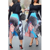 Lovely Trendy Character Multicolor Mid Calf Skirts