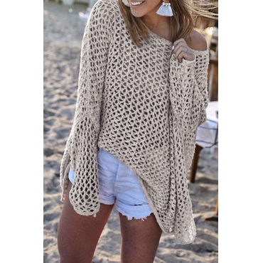 Lovely Casual Hollowed-out Apricot Knitting CoverUps
