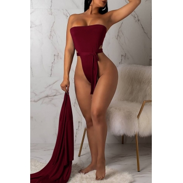 Lovely Sexy Lace-up Wine Red One-piece Swimwears (With Cover-Ups)