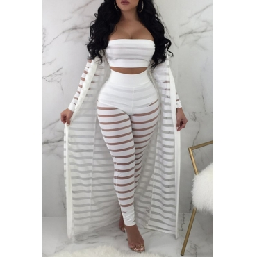 Lovely Casual Striped White Two-piece Pants Set(With Coat)