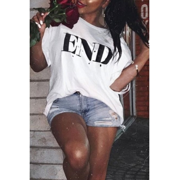Lovely Casual Printed Plus Size White T-shirt