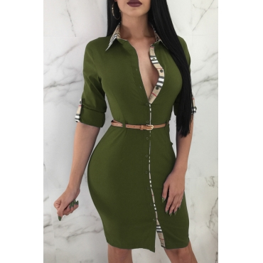 Lovely Trendy Patchwork Slim Army Green Knitting Knee Length Dress(Without Belt)