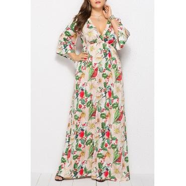 Lovely Casual Printed Light Green Floor Length Dress