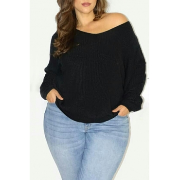 Lovely Casual Long Sleeves Loose Black T-shirt