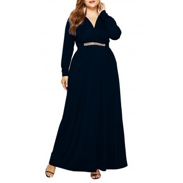 Lovely Casual  Long Sleeve Loose Black Floor Length Dress