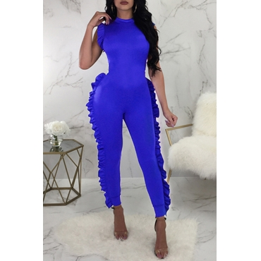 Lovely Sweet Flounce Design Royal Blue One-piece Jumpsuit
