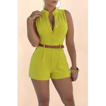 Lovely Trendy Buttons Yellow One-piece Rompers(With Belt)