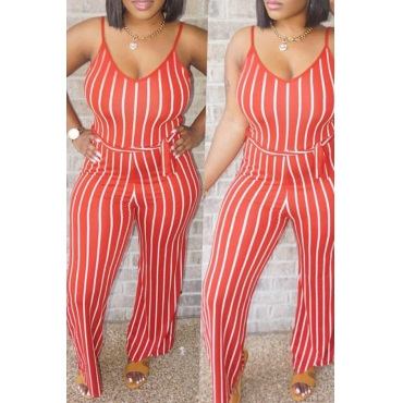 Lovely Casual Striped Red One-piece Jumpsuit