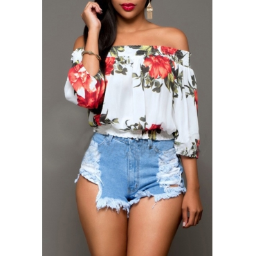 Lovely Trendy Floral Printed White Blouses