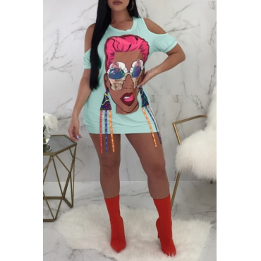 Lovely Casual Cartoon Characters Light Blue Twilled Satin  Mini Dress