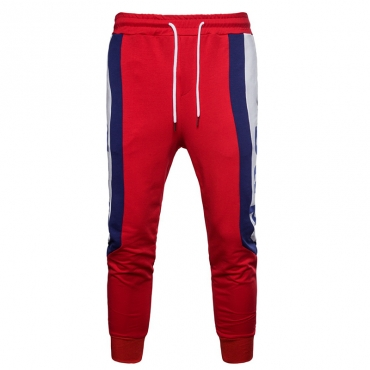 Lovely Casual Patchwork Red Cotton Pants